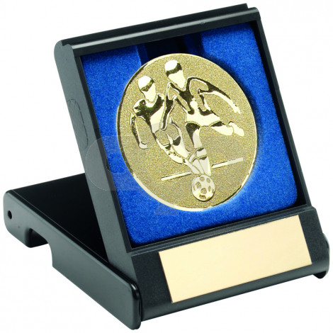 Black Plastic Box With Football Players Insert - Gold