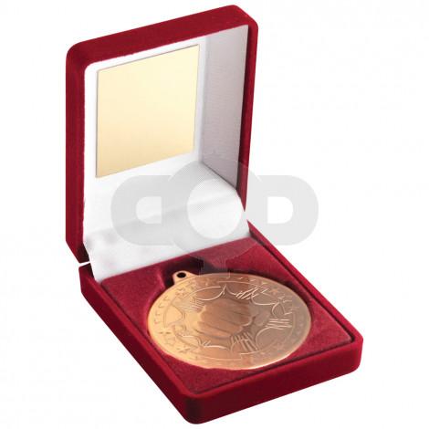 Red Velvet Box and 50mm Medal Martial Arts Trophy