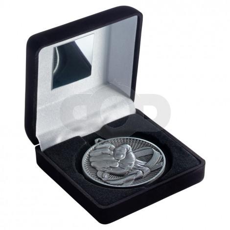 Black Velvet Box And 60Mm Medal Martial Arts Trophy - Antique Silver