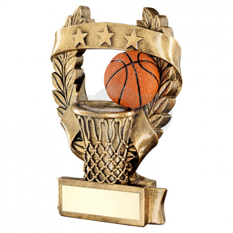 Bronze & Orange Basketball 3 Star Wreath Award Trophy