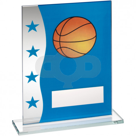 Blue & Silver Printed Glass Plaque With Basketball Image Trophy