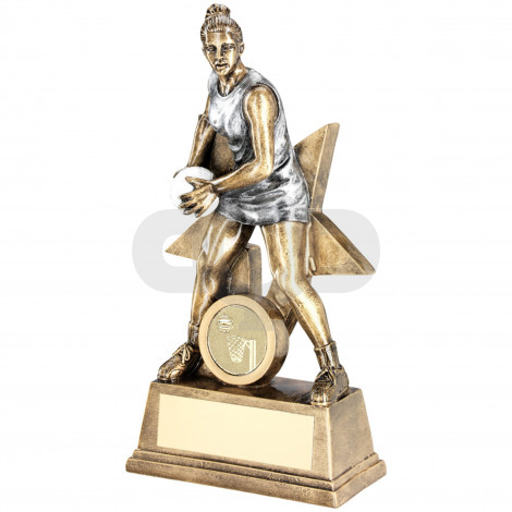 Female Netball Figure With Star Backing Trophy