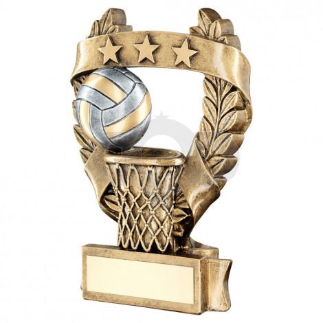 Bronze & Pewter Netball 3 Star Wreath Award Trophy