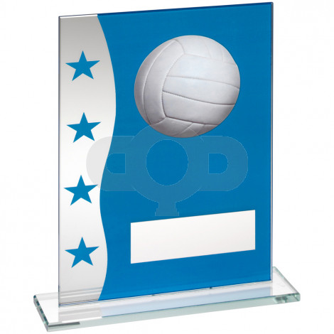 Blue & Silver Printed Glass Plaque With Netball Image Trophy