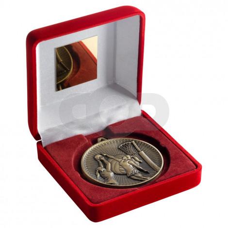Red Velvet Box And 60Mm Medal Netball Trophy - Antique Gold