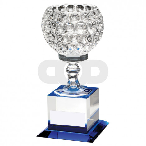 Clear Glass Goblet On Block Base Trophy
