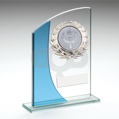 Rectangle Glass With Silver Wreath Trim Trophy