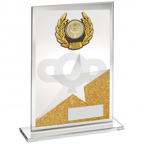 Jade Glass Plaque With Silver & Black Trim Trophy