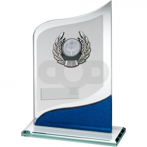Pointed Glass With Silver & Black Trim Trophy