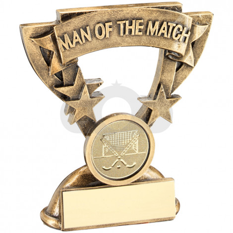 Gold Man Of The Match Mini Cup With Hockey Insert Trophy