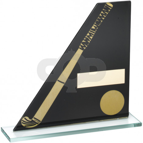 Printed Glass Plaque With Hockey Stick & Ball Trophy