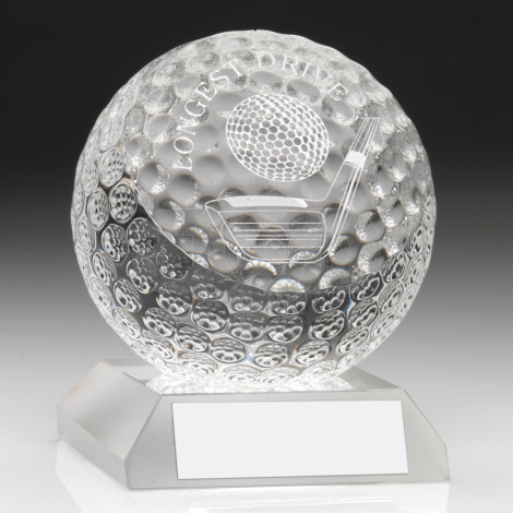 Clear Glass Golf Ball Trophy