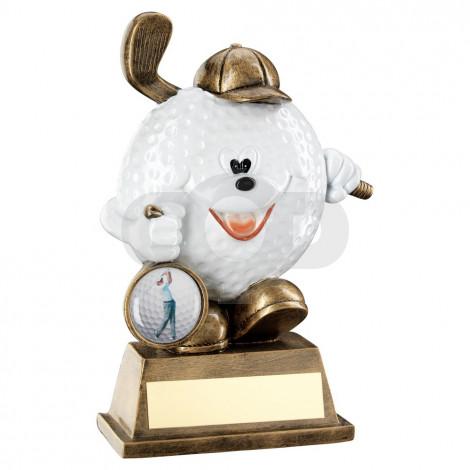 Bronze & White Comedy Golf Ball Figure Trophy