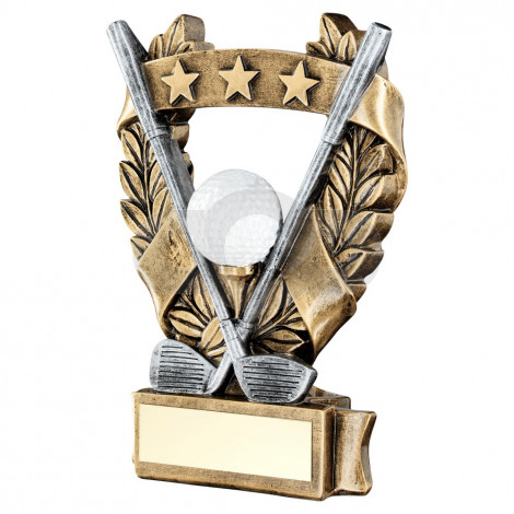 Bronze & Pewter & White & Gold Golf 3 Star Wreath Award Trophy