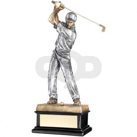 Back Swing Golfer On Black Base Trophy