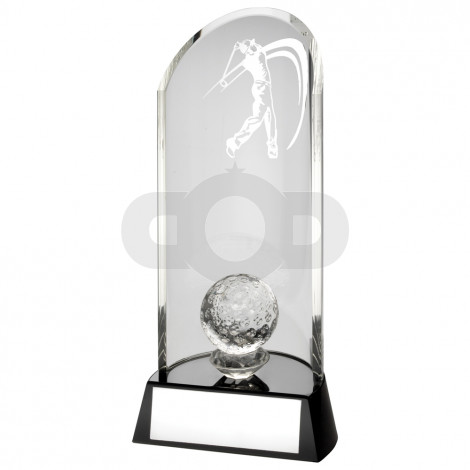 Clear Glass Golf Lasered Curve Column Ball On Black Base Trophy