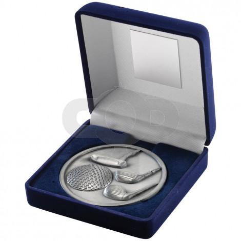 Blue Velvet Box and 70mm Medallion Golf Trophy