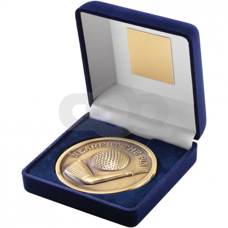 Blue Velvet Box and 70mm Medal Golf Trophy