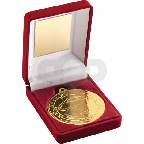Red Velvet Box and 50mm Medal Golf Trophy