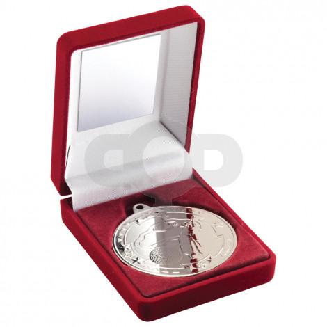 Red Velvet Box and 50mm Medal Golf Trophy