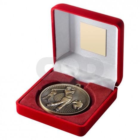 Red Velvet Box And 60Mm Medal Golf Trophy - Antique Gold