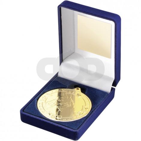Blue Velvet Box and 50mm Medal Horse Trophy