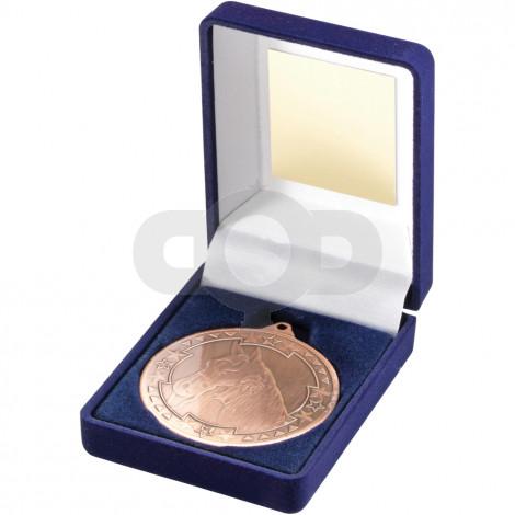 Blue Velvet Box and 50mm Bronze Medal Horse Trophy
