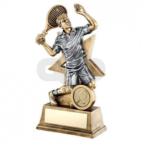 Bronze & Pewter Male Tennis Figure With Star Backing Trophy