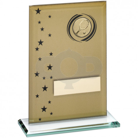 Printed Glass Rectangle With Tennis Insert Trophy