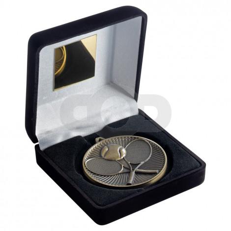 Black Velvet Box And 60Mm Medal Tennis Trophy - Antique Gold
