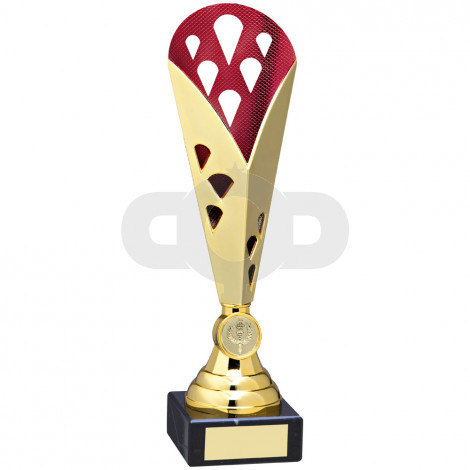 Gold & Red Tall Plastic Triangle Trophy