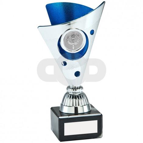 Silver & Blue Tri-Dot Trophy