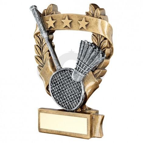 Bronze & Pewter Badminton 3 Star Wreath Award Trophy