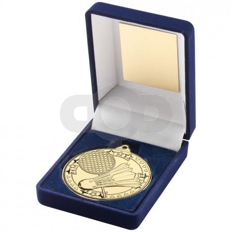 Blue Velvet Box And 50Mm Medal Badminton Trophy - Gold