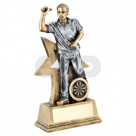 Bronze & Pewter Male Darts Figure With Star Backing Trophy