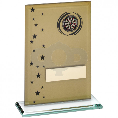Printed Glass Rectangle With Darts Insert Trophy