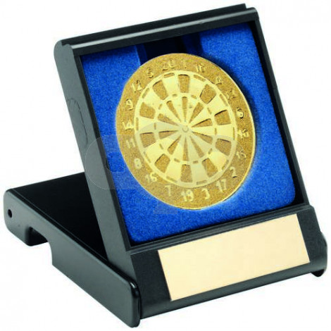 Black Plastic Box With Darts Insert - Gold