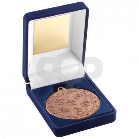 Blue Velvet Box and 50mm Medal Multi Athletics Trophy
