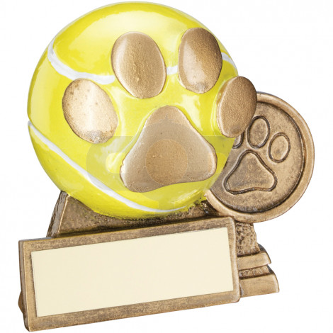3D Mini Tennis Ball With Dog Paw Trophy
