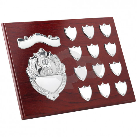 Rosewood Plaque With Chrome Fronts & 12 Record Shields
