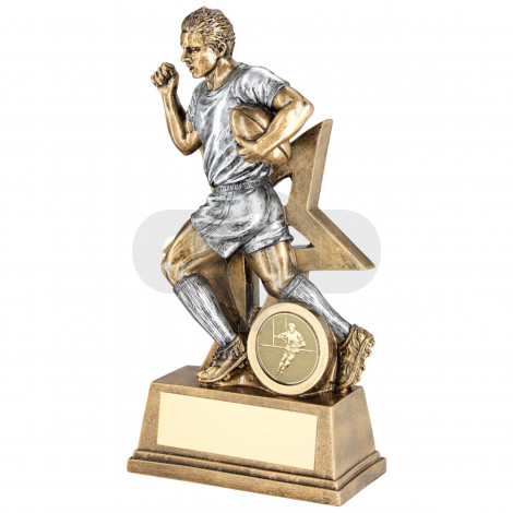 Male Rugby Figure With Star Backing Trophy