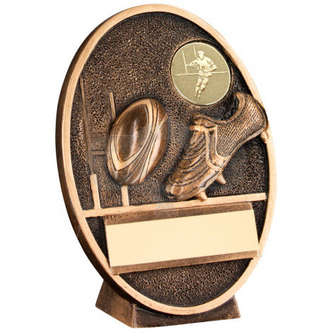Rugby Ball & Boot Oval Plaque Trophy