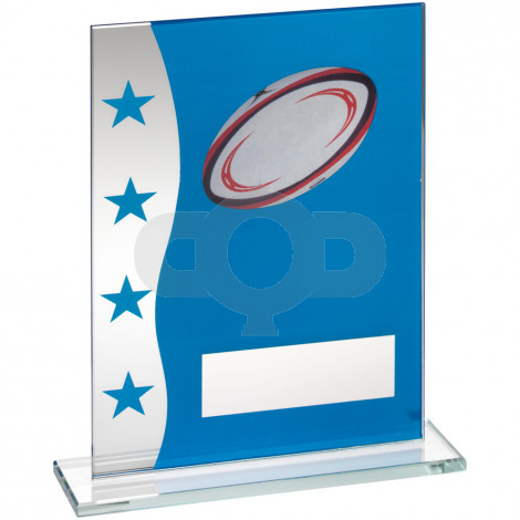 Printed Glass Plaque With Rugby Ball Image Trophy