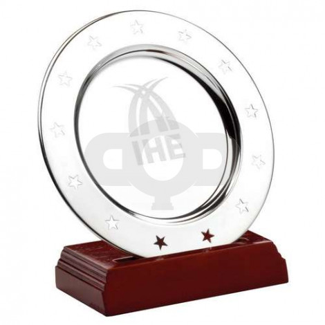 Silver Plated 'Stars' Salver On Wooden Stand