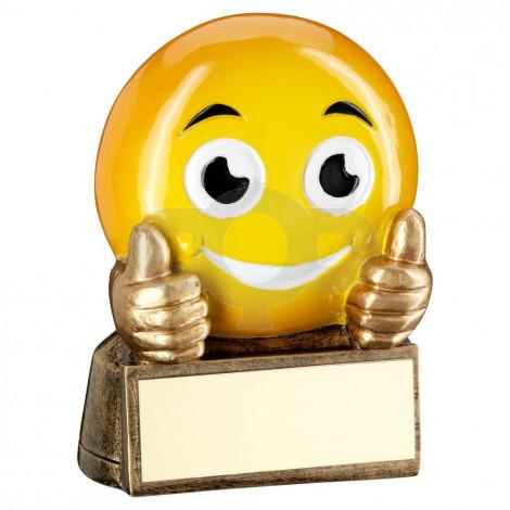 Bronze & Yellow 'Thumbs Up Emoji' Figure Trophy