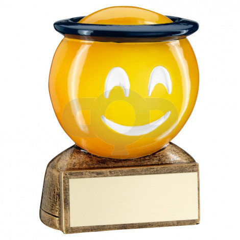 Bronze & Yellow & Blue 'Halo Emoji' Figure Trophy