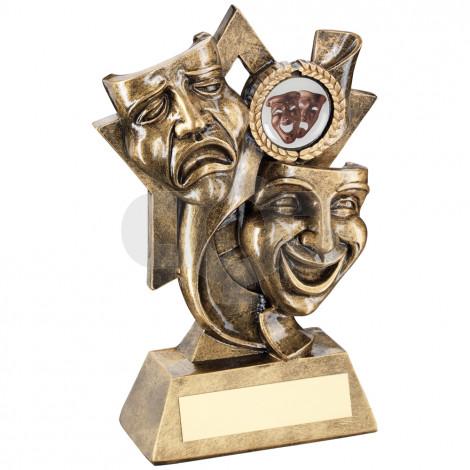 Drama Masks On Star Backdrop Trophy