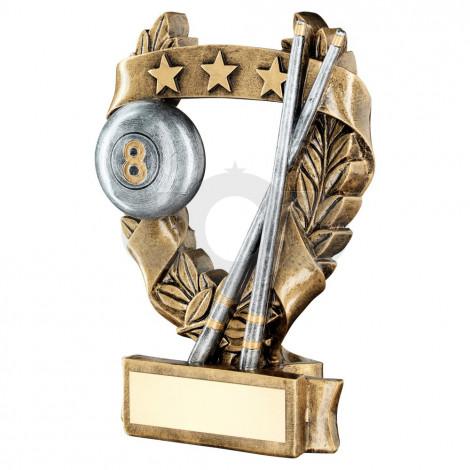 Bronze & Pewter Pool & Snooker 3 Star Wreath Award Trophy