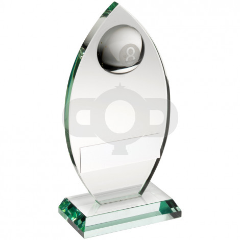 Jade Glass Plaque With Half Pool Ball Trophy