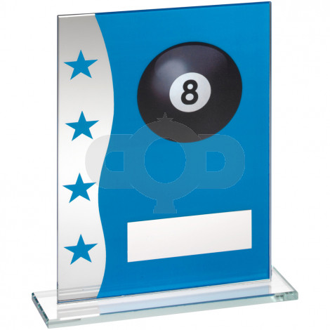 Blue & Silver Printed Glass Plaque With Pool Ball Image Trophy
